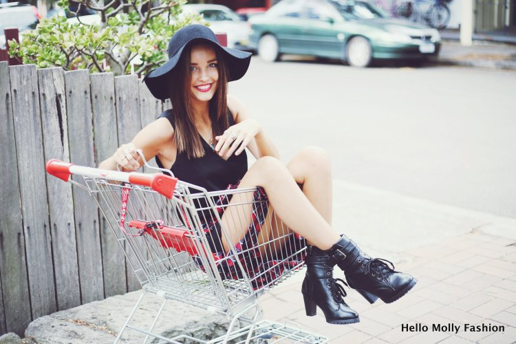 girl sitting in trolley